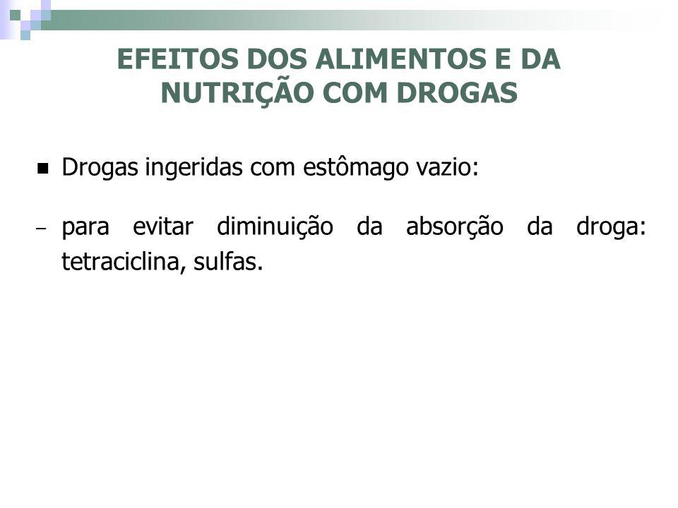 Drogas ingeridas com estômago vazio: – para evitar diminuição da absorção da droga: tetraciclina, sulfas. EFEITOS DOS ALIMENTOS E DA NUTRIÇÃO COM DROG