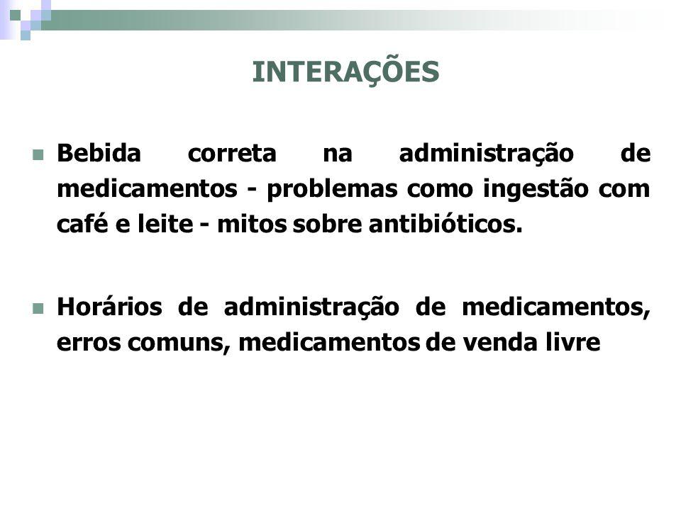 Principal motivo: presença e absorção de alimentos e medicamentos no TGI Tipos de interações: químicas e físicas.