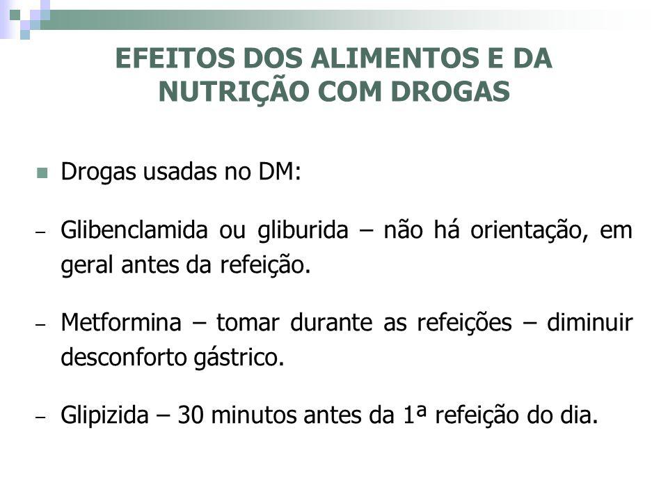Drogas usadas no DM: – Glibenclamida ou gliburida – não há orientação, em geral antes da refeição. – Metformina – tomar durante as refeições – diminui