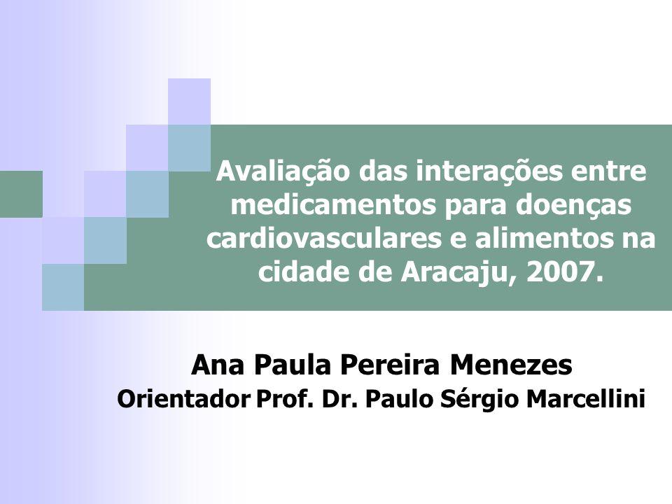 Avaliação das interações entre medicamentos para doenças cardiovasculares e alimentos na cidade de Aracaju, 2007. Ana Paula Pereira Menezes Orientador