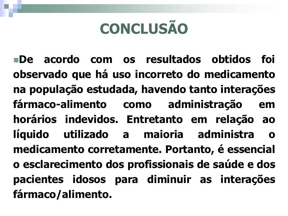 CONCLUSÃO De acordo com os resultados obtidos foi observado que há uso incorreto do medicamento na população estudada, havendo tanto interações fármac