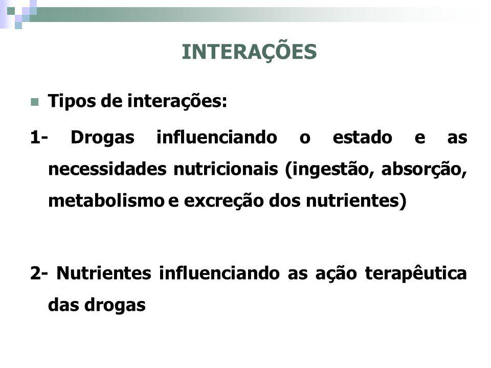 Sucos cítricos- potencialização da quinidina (antiarrítmico) Alimentos ricos em fibras - retardam a absorção de digoxina e acetominofeno (antipirético) Refeição rica em gorduras - aumenta a absorção do antineoplásico e grisefulvina (antifungo) Alimentos em geral - Clorotiazida, propanolol e nitrofurantoína, aumento da absorção dessas drogas EFEITOS DOS ALIMENTOS E DA NUTRIÇÃO COM DROGAS