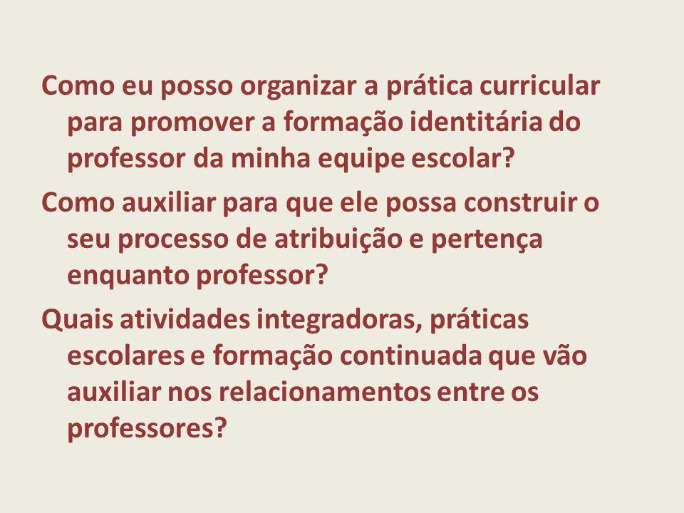 Como eu posso organizar a prática curricular para promover a formação identitária do professor da minha equipe escolar.