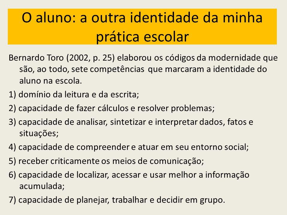 O aluno: a outra identidade da minha prática escolar Bernardo Toro (2002, p.