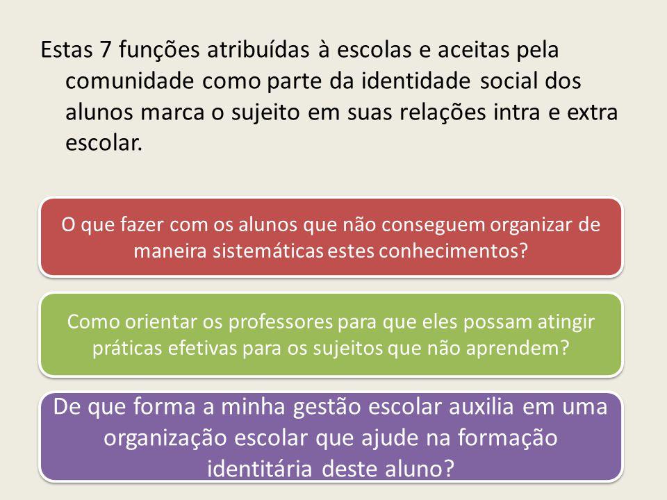 Estas 7 funções atribuídas à escolas e aceitas pela comunidade como parte da identidade social dos alunos marca o sujeito em suas relações intra e extra escolar.