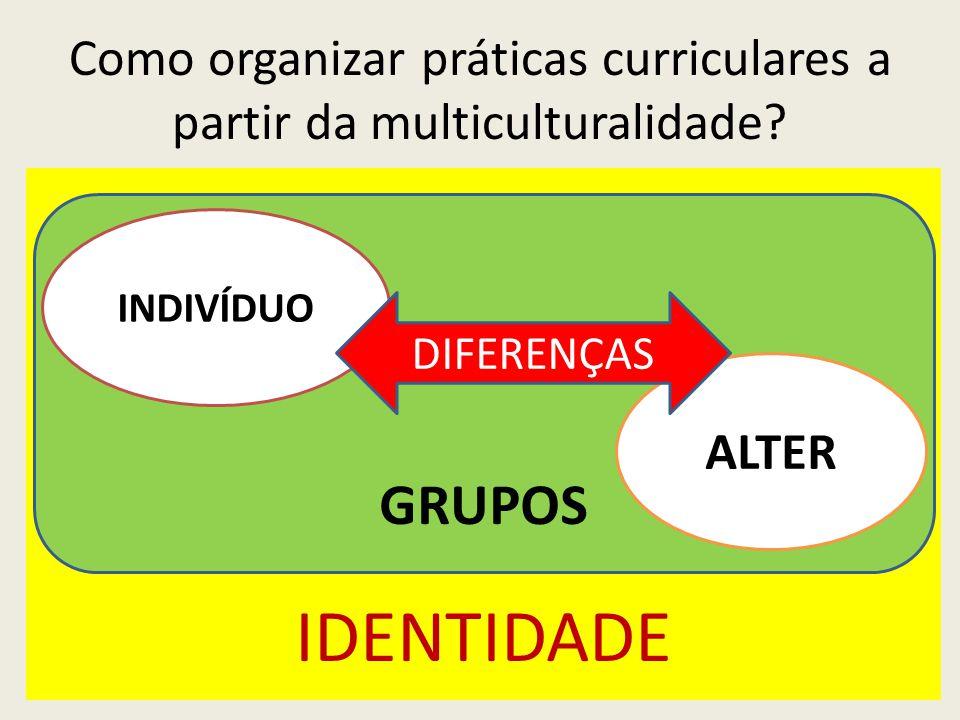 IDENTIDADE GRUPOS Como organizar práticas curriculares a partir da multiculturalidade.