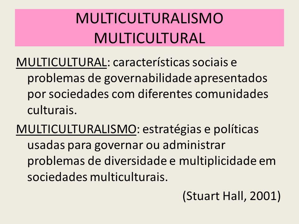MULTICULTURALISMO MULTICULTURAL MULTICULTURAL: características sociais e problemas de governabilidade apresentados por sociedades com diferentes comunidades culturais.
