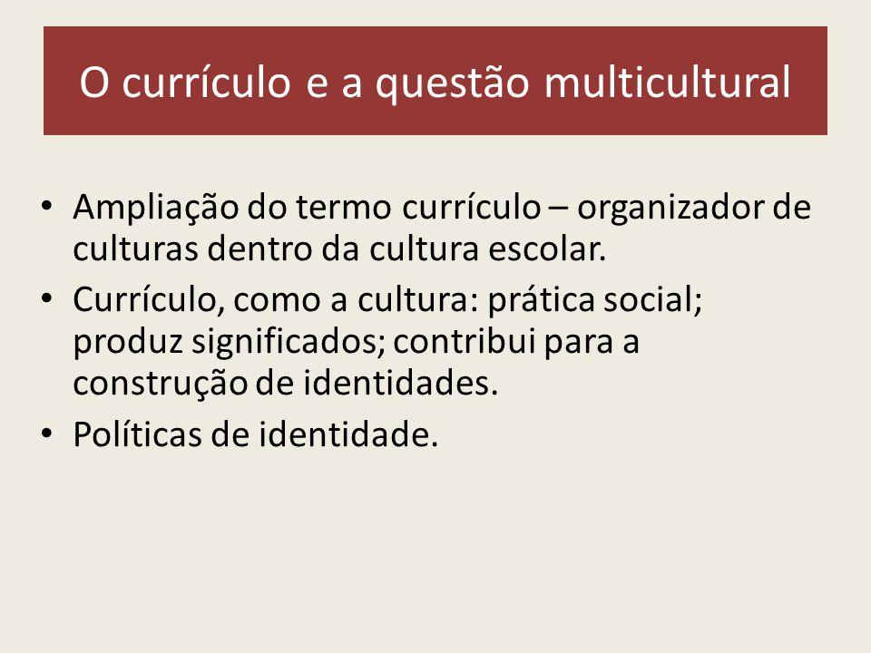O currículo e a questão multicultural Ampliação do termo currículo – organizador de culturas dentro da cultura escolar.