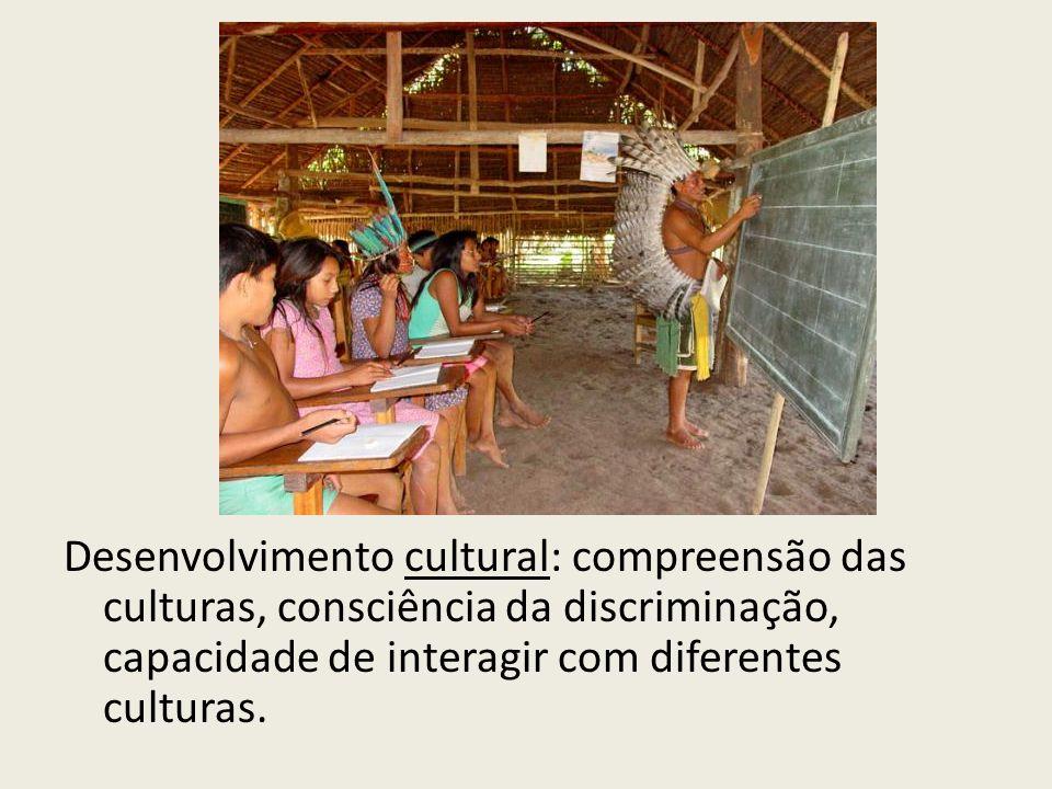 Desenvolvimento cultural: compreensão das culturas, consciência da discriminação, capacidade de interagir com diferentes culturas.