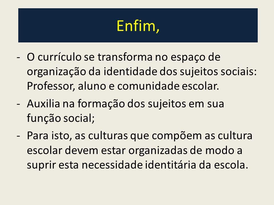 Enfim, -O currículo se transforma no espaço de organização da identidade dos sujeitos sociais: Professor, aluno e comunidade escolar.
