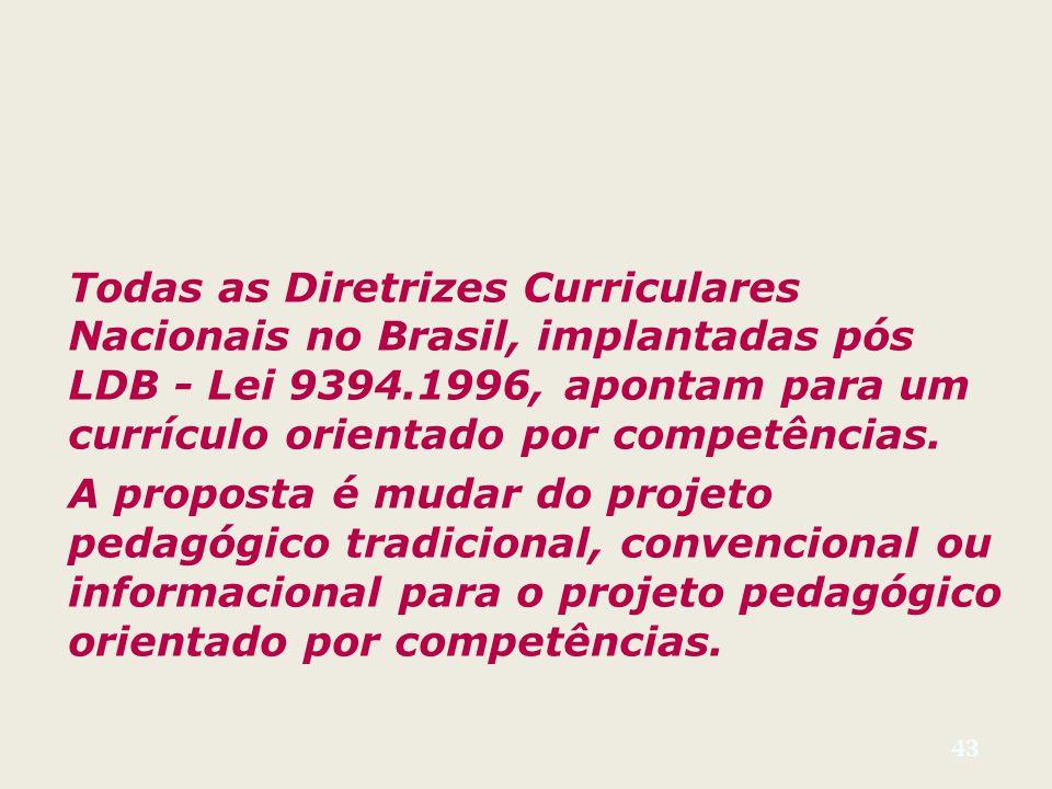 43 Todas as Diretrizes Curriculares Nacionais no Brasil, implantadas pós LDB - Lei 9394.1996, apontam para um currículo orientado por competências.