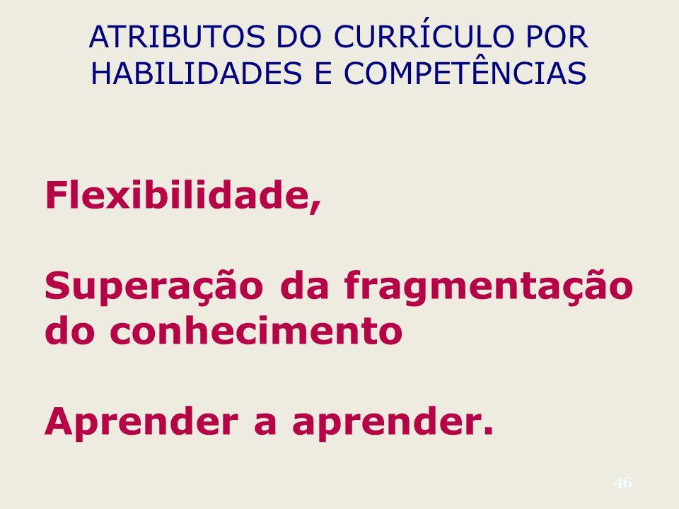 46 ATRIBUTOS DO CURRÍCULO POR HABILIDADES E COMPETÊNCIAS Flexibilidade, Superação da fragmentação do conhecimento Aprender a aprender.