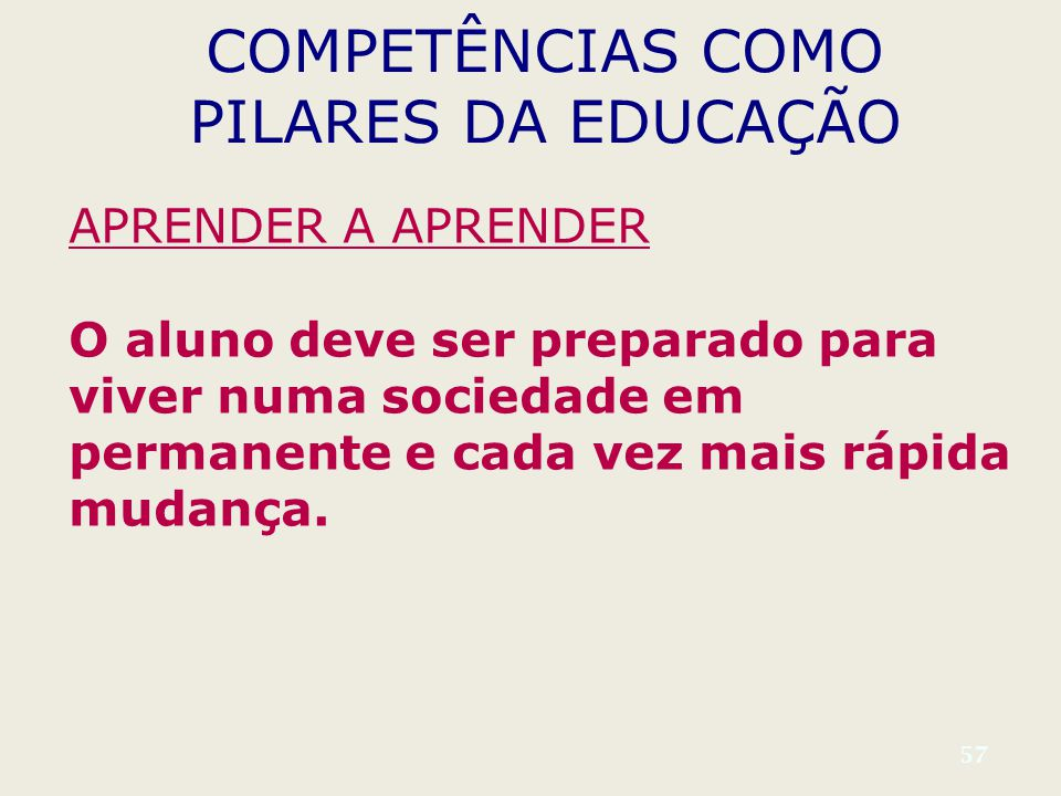 57 COMPETÊNCIAS COMO PILARES DA EDUCAÇÃO APRENDER A APRENDER O aluno deve ser preparado para viver numa sociedade em permanente e cada vez mais rápida mudança.