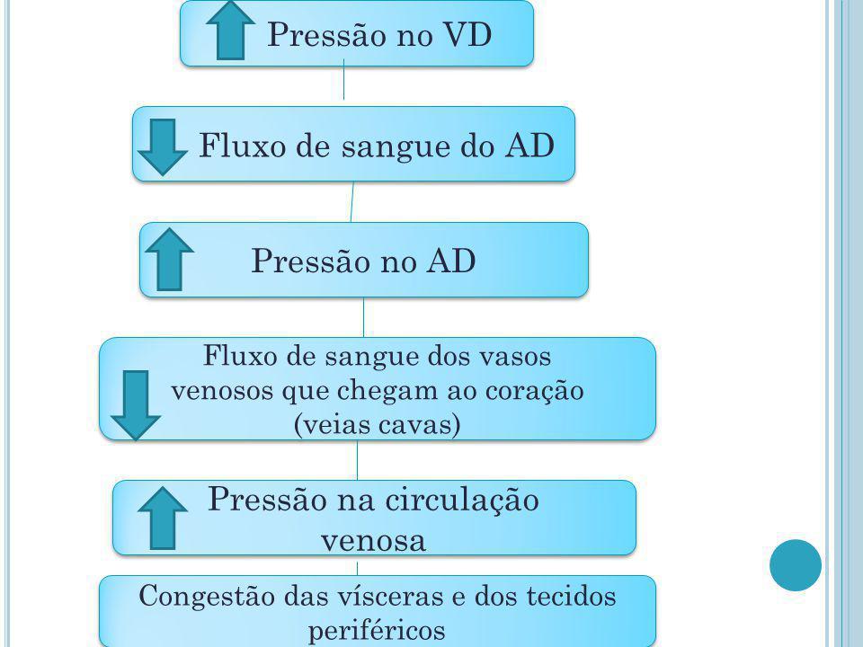 Pressão no VD Fluxo de sangue do AD Pressão no AD Fluxo de sangue dos vasos venosos que chegam ao coração (veias cavas) Fluxo de sangue dos vasos veno