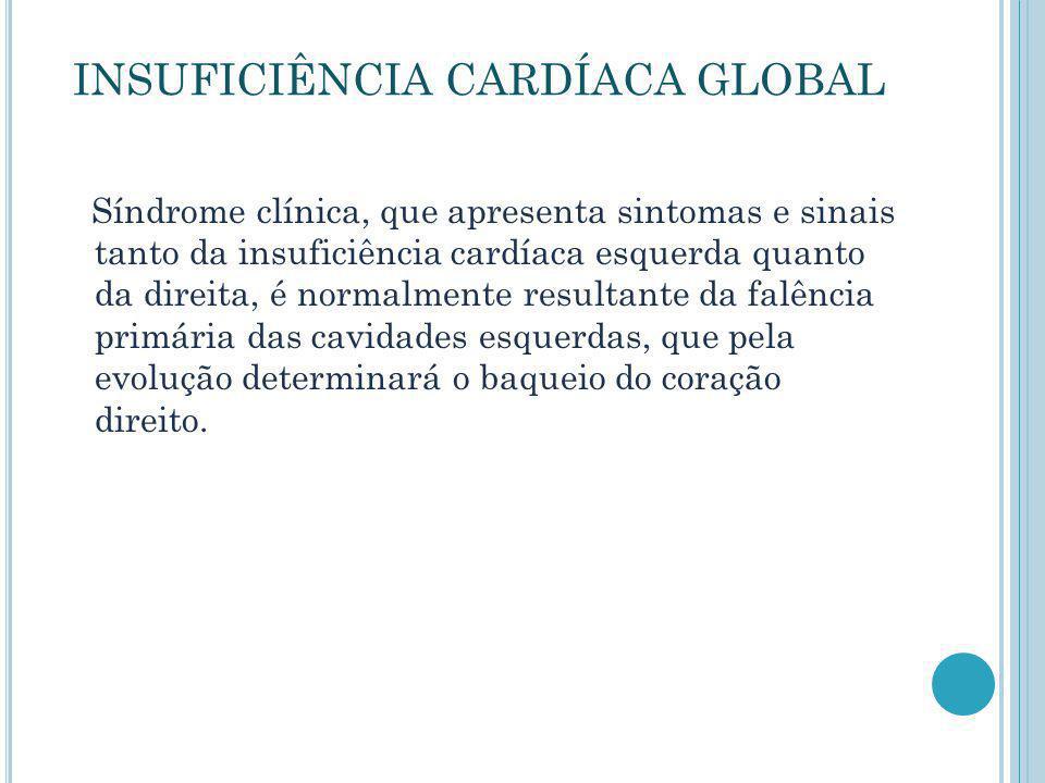 INSUFICIÊNCIA CARDÍACA GLOBAL Síndrome clínica, que apresenta sintomas e sinais tanto da insuficiência cardíaca esquerda quanto da direita, é normalme