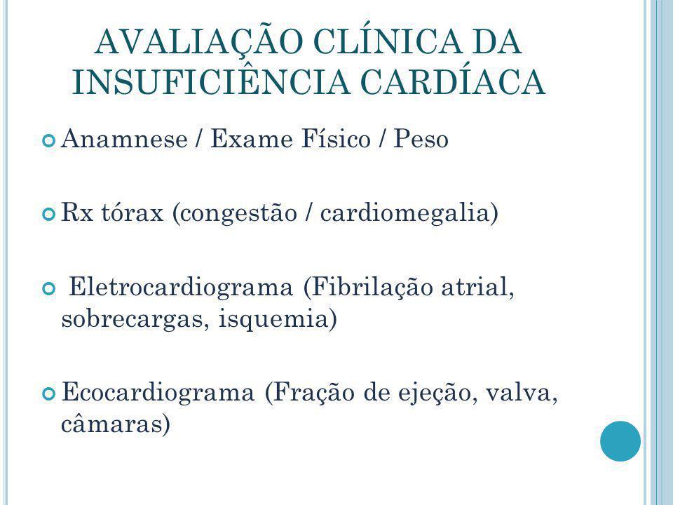 AVALIAÇÃO CLÍNICA DA INSUFICIÊNCIA CARDÍACA Anamnese / Exame Físico / Peso Rx tórax (congestão / cardiomegalia) Eletrocardiograma (Fibrilação atrial,