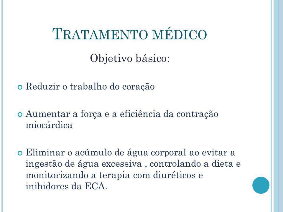 T RATAMENTO MÉDICO Objetivo básico: Reduzir o trabalho do coração Aumentar a força e a eficiência da contração miocárdica Eliminar o acúmulo de água c