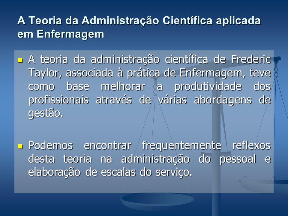 A Teoria da Administração Científica aplicada em Enfermagem A teoria da administração científica de Frederic Taylor, associada à prática de Enfermagem, teve como base melhorar a produtividade dos profissionais através de várias abordagens de gestão.