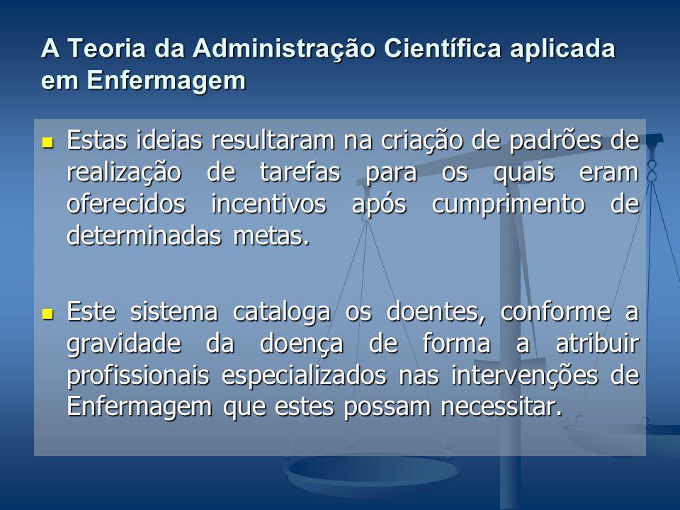 A Teoria da Administração Científica aplicada em Enfermagem Estas ideias resultaram na criação de padrões de realização de tarefas para os quais eram