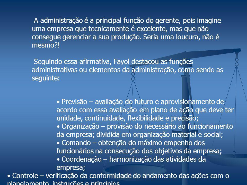 A administração é a principal função do gerente, pois imagine uma empresa que tecnicamente é excelente, mas que não consegue gerenciar a sua produção.