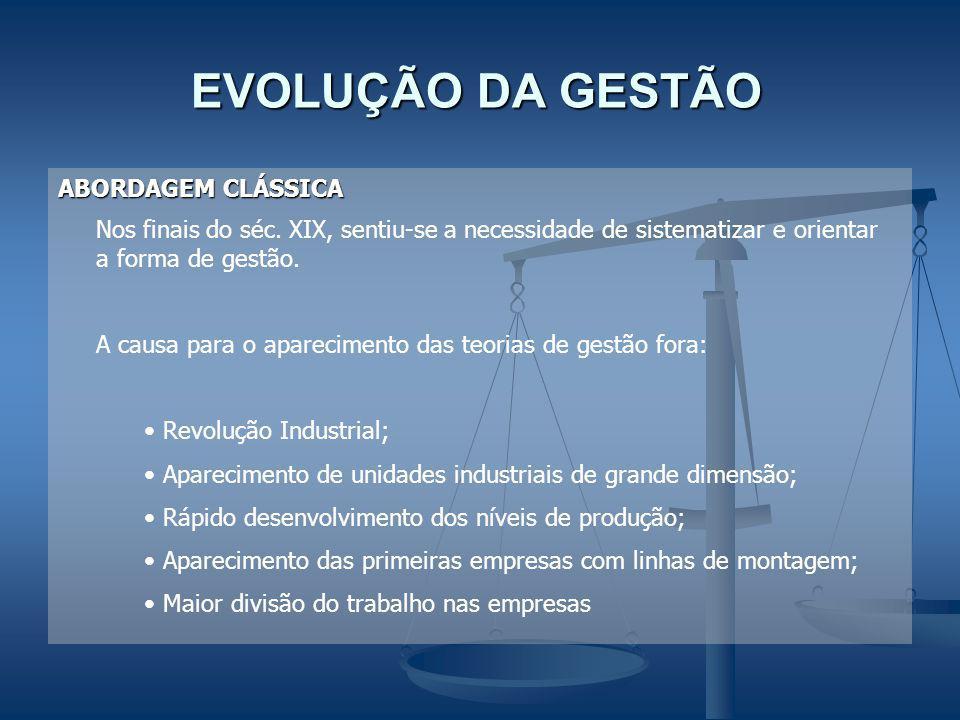 EVOLUÇÃO DA GESTÃO EVOLUÇÃO DA GESTÃO ABORDAGEM CLÁSSICA Nos finais do séc. XIX, sentiu-se a necessidade de sistematizar e orientar a forma de gestão.