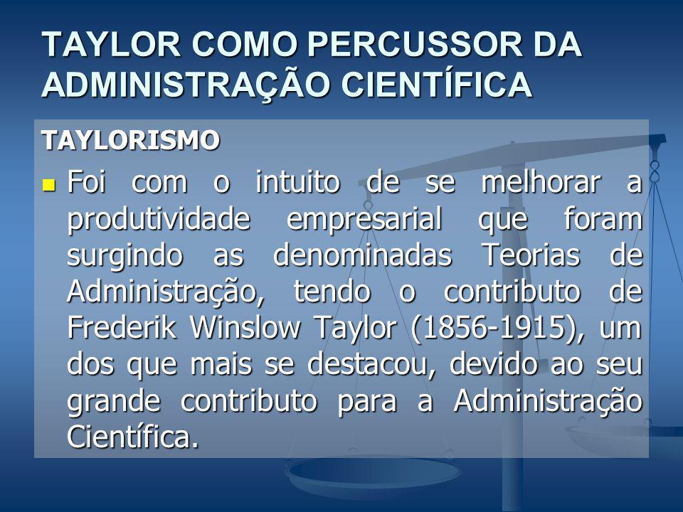 TAYLOR COMO PERCUSSOR DA ADMINISTRAÇÃO CIENTÍFICA TAYLORISMO Foi com o intuito de se melhorar a produtividade empresarial que foram surgindo as denominadas Teorias de Administração, tendo o contributo de Frederik Winslow Taylor (1856-1915), um dos que mais se destacou, devido ao seu grande contributo para a Administração Científica.
