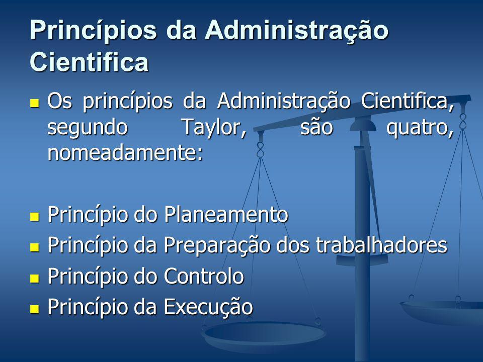 Princípios da Administração Cientifica Os princípios da Administração Cientifica, segundo Taylor, são quatro, nomeadamente: Os princípios da Administração Cientifica, segundo Taylor, são quatro, nomeadamente: Princípio do Planeamento Princípio do Planeamento Princípio da Preparação dos trabalhadores Princípio da Preparação dos trabalhadores Princípio do Controlo Princípio do Controlo Princípio da Execução Princípio da Execução