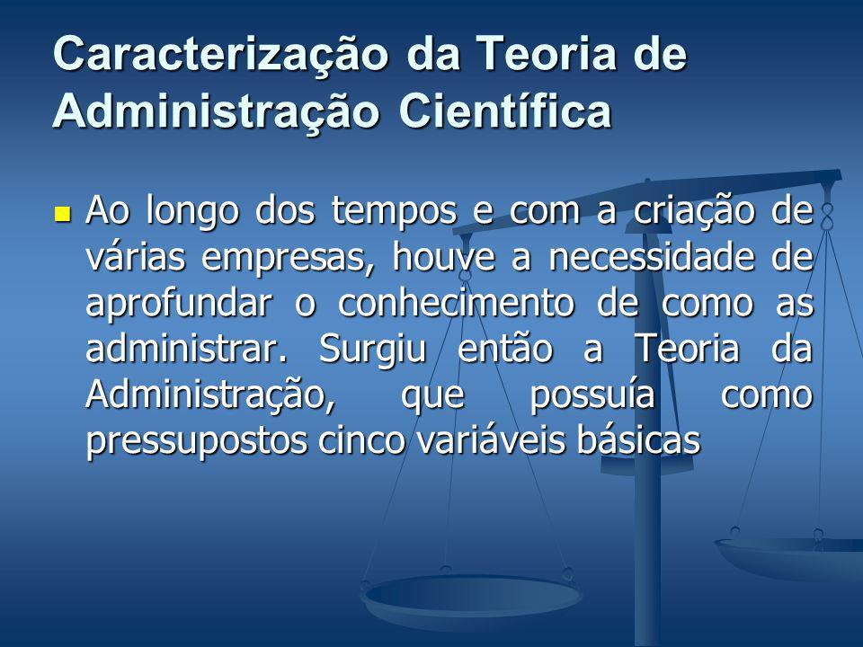 Caracterização da Teoria de Administração Científica Ao longo dos tempos e com a criação de várias empresas, houve a necessidade de aprofundar o conhecimento de como as administrar.