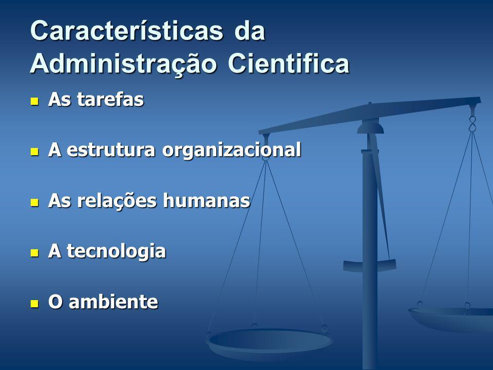 Características da Administração Cientifica As tarefas As tarefas A estrutura organizacional A estrutura organizacional As relações humanas As relações humanas A tecnologia A tecnologia O ambiente O ambiente