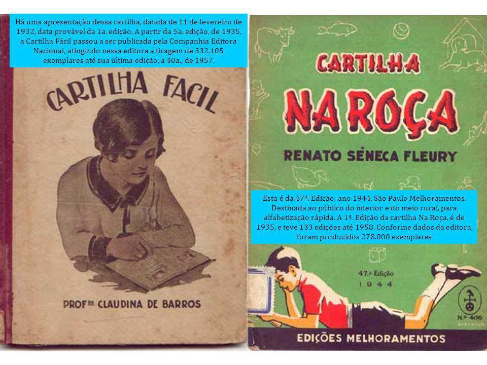 Há uma apresentação dessa cartilha, datada de 11 de fevereiro de 1932, data provável da 1a. edição. A partir da 5a. edição, de 1935, a Cartilha Fácil