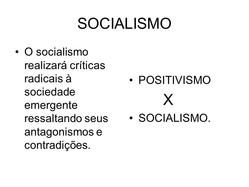 SOCIALISMO O socialismo realizará críticas radicais à sociedade emergente ressaltando seus antagonismos e contradições. POSITIVISMO X SOCIALISMO.