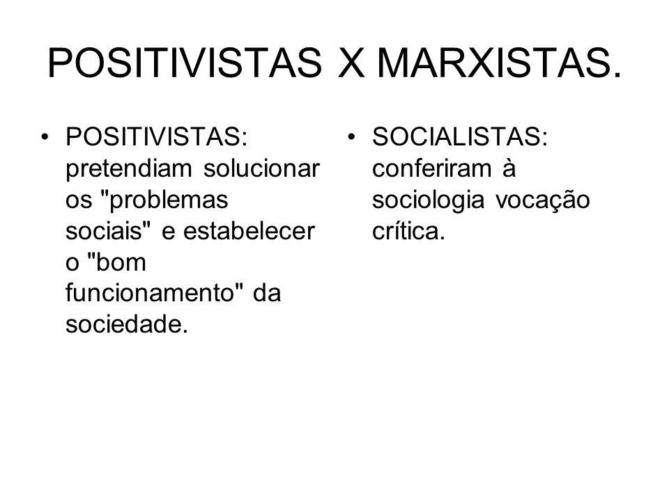 POSITIVISTAS X MARXISTAS. POSITIVISTAS: pretendiam solucionar os