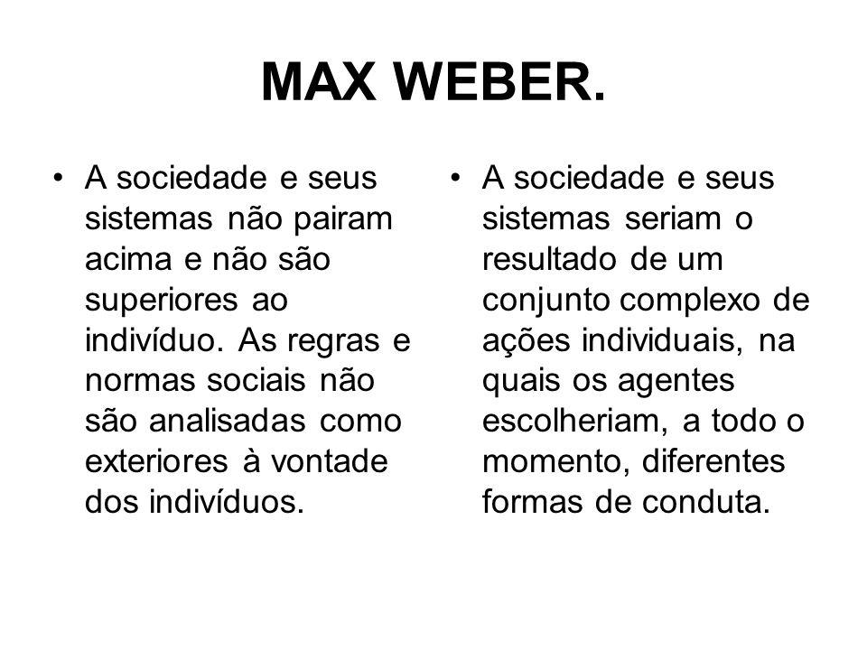 MAX WEBER. A sociedade e seus sistemas não pairam acima e não são superiores ao indivíduo. As regras e normas sociais não são analisadas como exterior