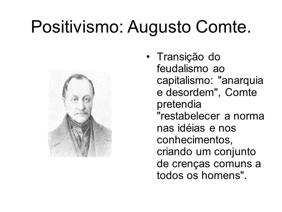 Positivismo: Augusto Comte. Transição do feudalismo ao capitalismo: