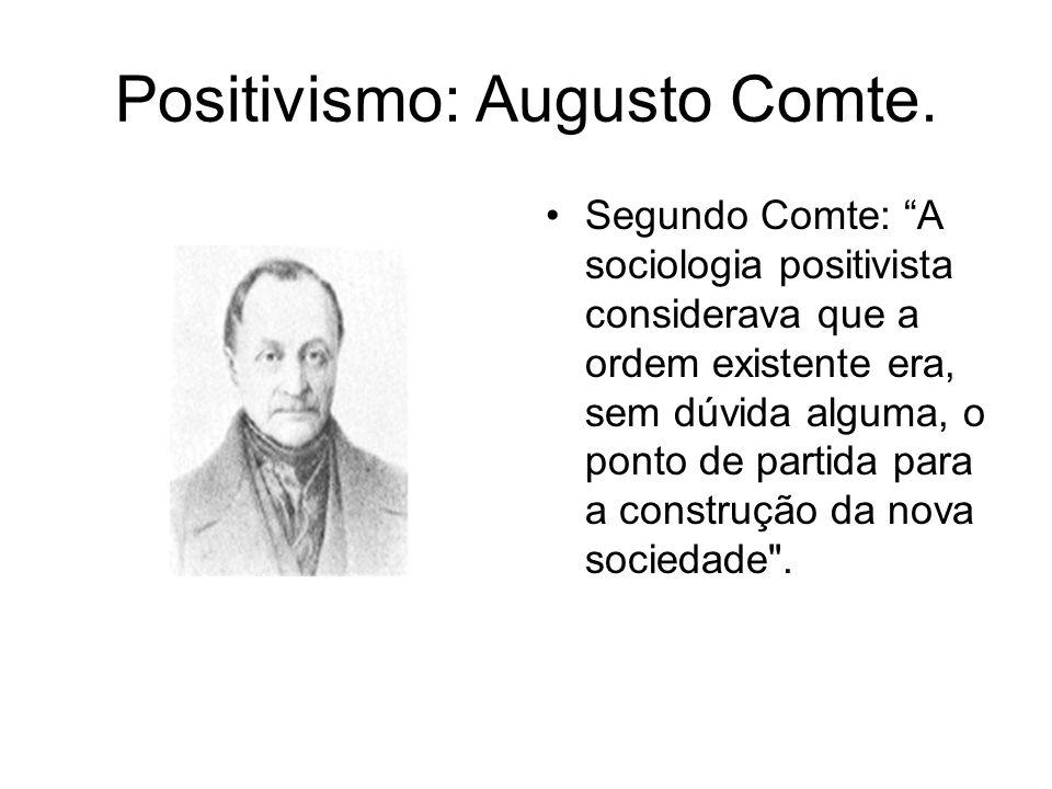 Positivismo: Augusto Comte. Segundo Comte: A sociologia positivista considerava que a ordem existente era, sem dúvida alguma, o ponto de partida para