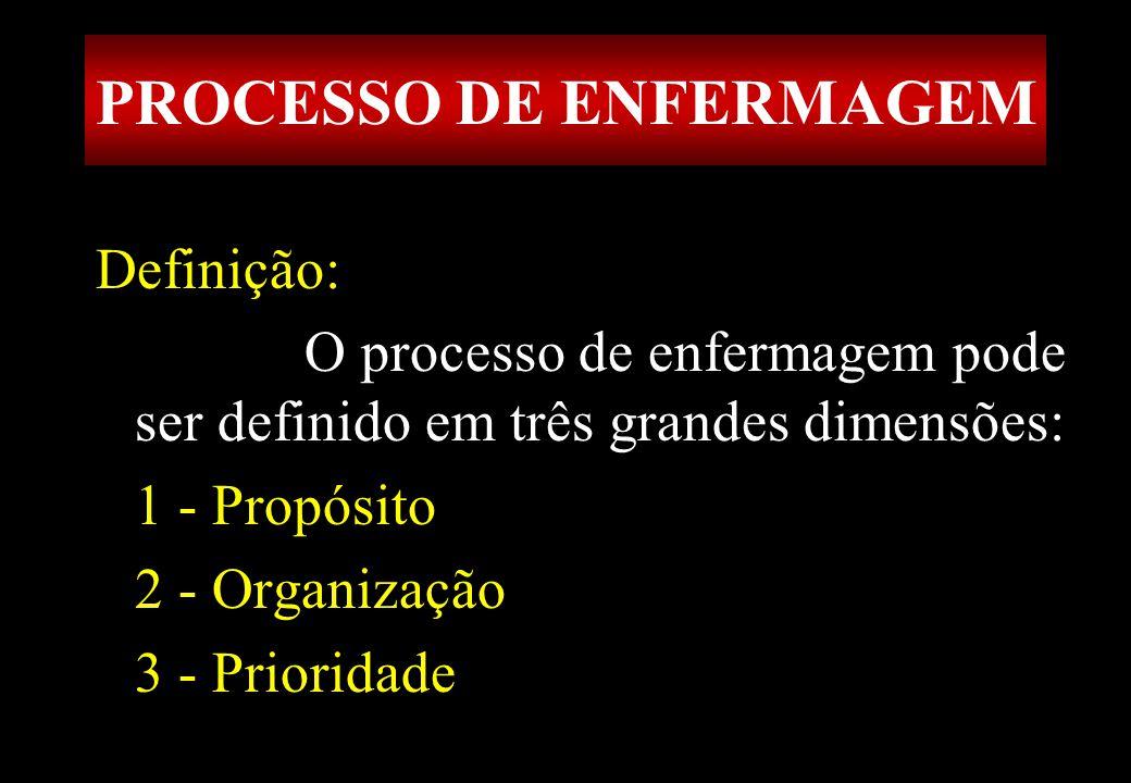Prof MS Creto Valdivino e Silva Definição: O processo de enfermagem pode ser definido em três grandes dimensões: 1 - Propósito 2 - Organização 3 - Pri