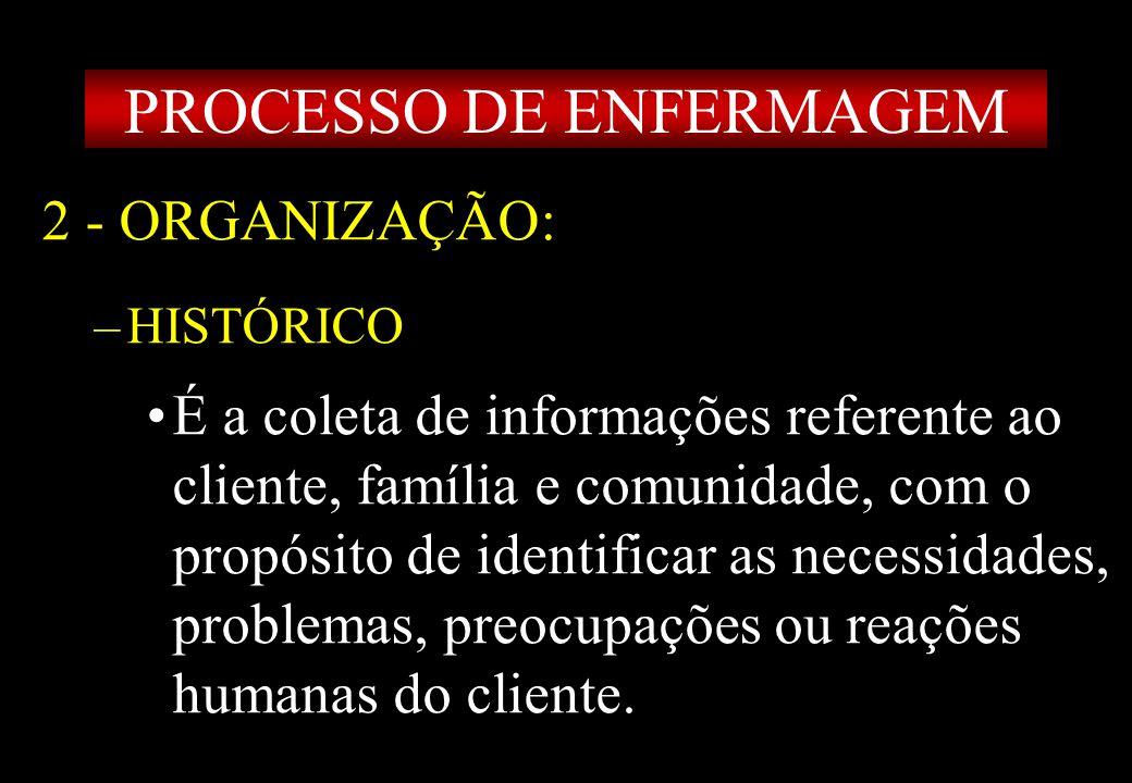 Prof MS Creto Valdivino e Silva 2 - ORGANIZAÇÃO: –HISTÓRICO É a coleta de informações referente ao cliente, família e comunidade, com o propósito de i