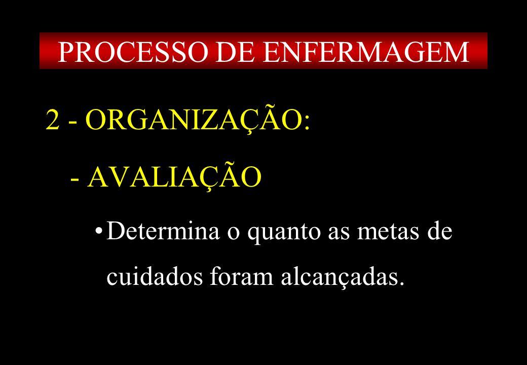 Prof MS Creto Valdivino e Silva 2 - ORGANIZAÇÃO: - AVALIAÇÃO Determina o quanto as metas de cuidados foram alcançadas. PROCESSO DE ENFERMAGEM