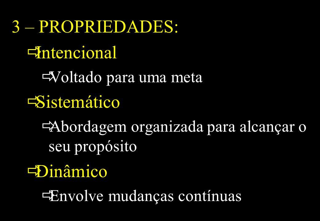 Prof MS Creto Valdivino e Silva 3 – PROPRIEDADES: Intencional Voltado para uma meta Sistemático Abordagem organizada para alcançar o seu propósito Din