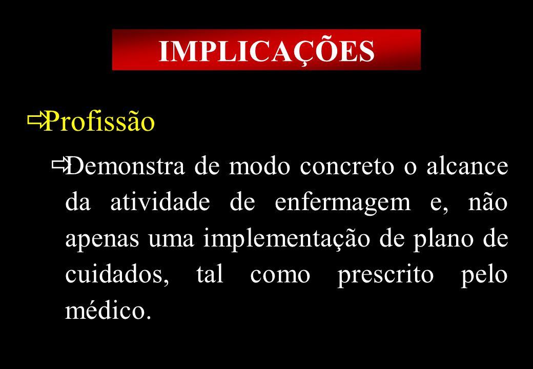 Prof MS Creto Valdivino e Silva IMPLICAÇÕES Profissão Demonstra de modo concreto o alcance da atividade de enfermagem e, não apenas uma implementação