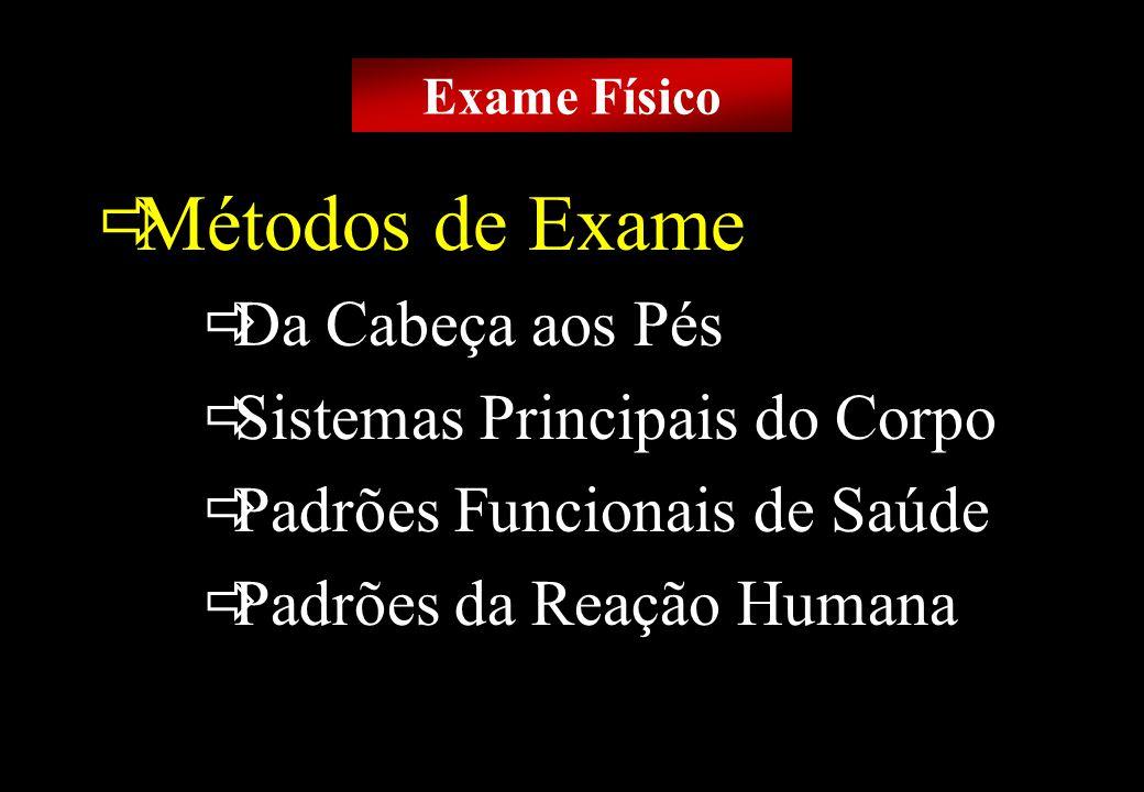 Prof MS Creto Valdivino e Silva Métodos de Exame Da Cabeça aos Pés Sistemas Principais do Corpo Padrões Funcionais de Saúde Padrões da Reação Humana E