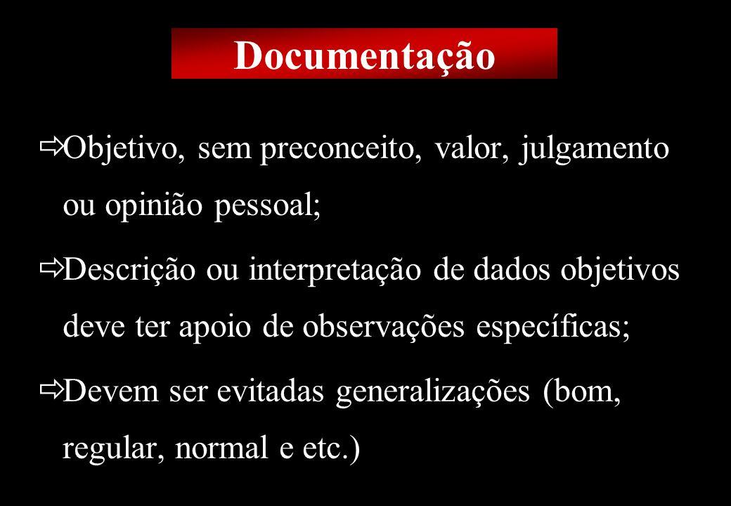 Prof MS Creto Valdivino e Silva Documentação Objetivo, sem preconceito, valor, julgamento ou opinião pessoal; Descrição ou interpretação de dados obje