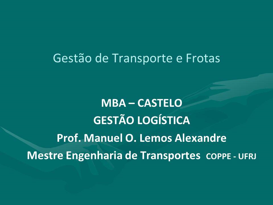 Gestão de Transporte e Frotas MBA – CASTELO GESTÃO LOGÍSTICA Prof. Manuel O. Lemos Alexandre Mestre Engenharia de Transportes COPPE - UFRJ