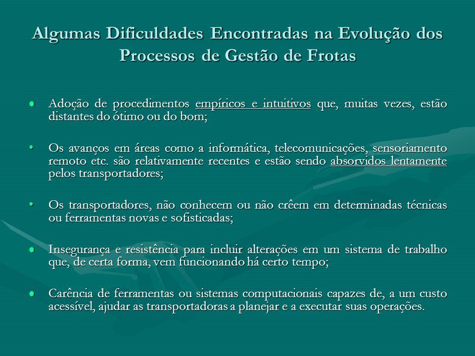 Algumas Dificuldades Encontradas na Evolução dos Processos de Gestão de Frotas Adoção de procedimentos empíricos e intuitivos que, muitas vezes, estão