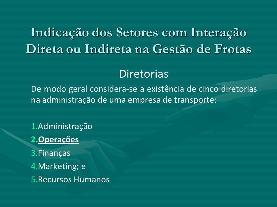 Indicação dos Setores com Interação Direta ou Indireta na Gestão de Frotas Diretorias De modo geral considera-se a existência de cinco diretorias na a