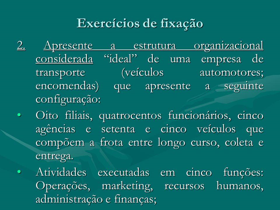 Exercícios de fixação 2. Apresente a estrutura organizacional considerada ideal de uma empresa de transporte (veículos automotores; encomendas) que ap