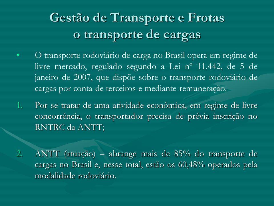 Gestão de Transporte e Frotas o transporte de cargas O transporte rodoviário de carga no Brasil opera em regime de livre mercado, regulado segundo a L