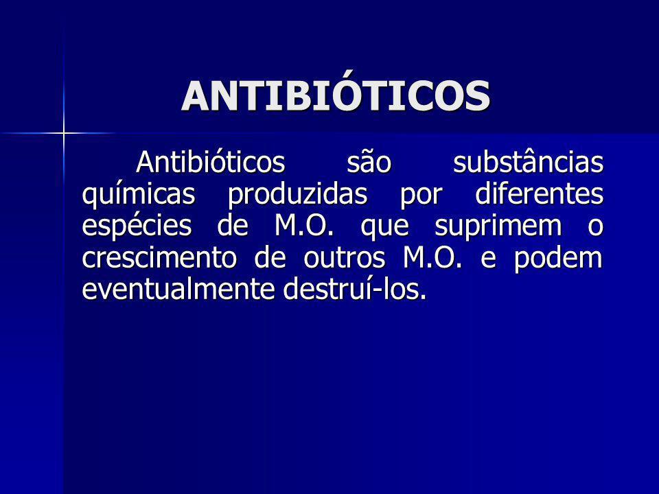 ANTIBIÓTICOS Antibióticos são substâncias químicas produzidas por diferentes espécies de M.O. que suprimem o crescimento de outros M.O. e podem eventu