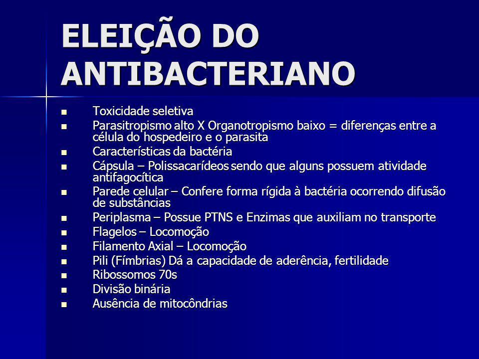 ELEIÇÃO DO ANTIBACTERIANO Toxicidade seletiva Toxicidade seletiva Parasitropismo alto X Organotropismo baixo = diferenças entre a célula do hospedeiro