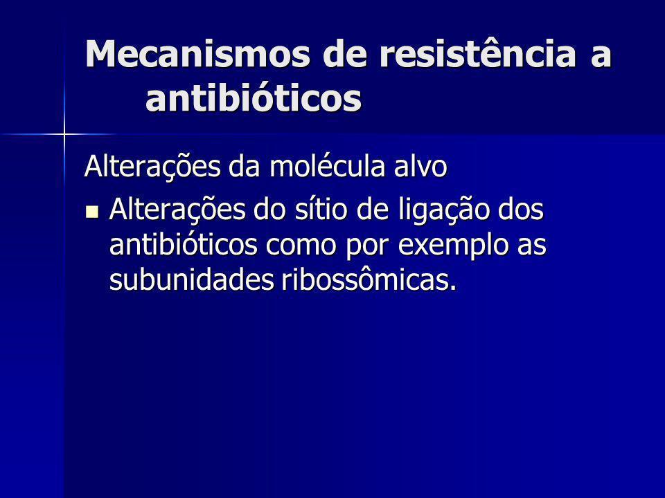 Mecanismos de resistência a antibióticos Alterações da molécula alvo Alterações do sítio de ligação dos antibióticos como por exemplo as subunidades r